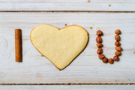 I love you sentence arranged with cookies and nuts Stock Photo - 17127420