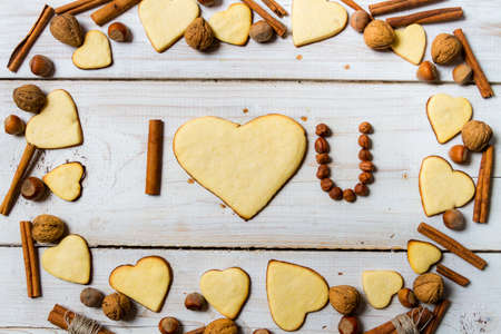 I love you sentence arranged with cookies and nuts Stock Photo - 17127280