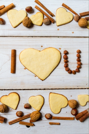 I love you sentence arranged with cookies and nuts  Stock Photo - 17127354
