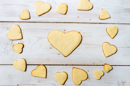 Heart-shaped cookies on a old wooden table Stock Photo - 17127268