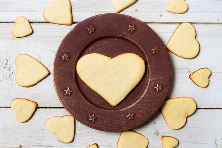Heart-shaped cookies arranged on a plate Stock Photo - 17127382