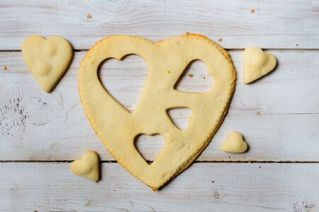 Shape of heart baked in a sweet cookie Stock Photo - 17127340