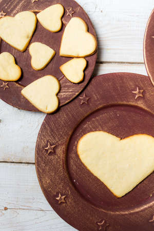 Heart-shaped cookies arranged on a plate Stock Photo - 17127556