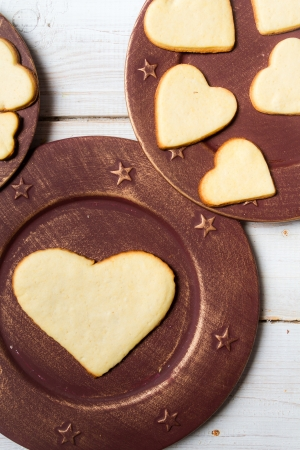 Heart-shaped cookies arranged on a plate Stock Photo - 17127557