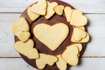 Heart-shaped cookies arranged on a plate Stock Photo - 17127180