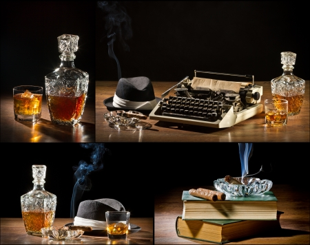 lowkey: Collage of retro-Styled old typewriter, cigar, hat and whisky no. 1 Stock Photo