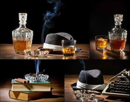 Collage of retro-Styled old typewriter, cigar, hat and whisky no. 2 photo