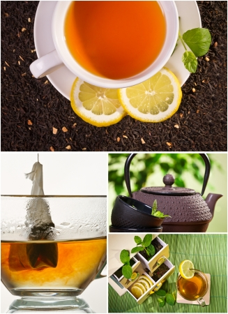 chinese tea cup: Collage of healthy green tea no. 3