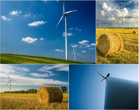 Poster von Windm�hlen als gr�ne Energie Lizenzfreie Bilder