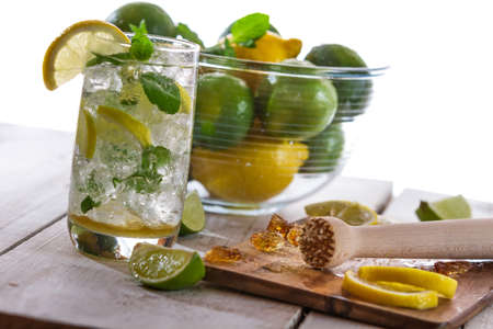icecube: Closeup of cold drink with citrus Stock Photo
