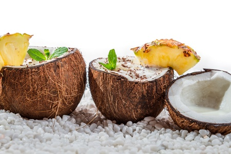 Pinacolada drink with chocolate and mint leaf photo