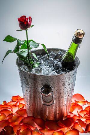 Rose in ice cold with bottle of champagne photo