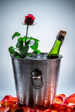 Red rose and cold champagne photo