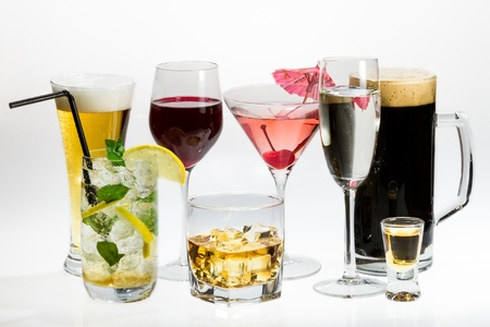 white wine: Various types of alcohol on a white background Stock Photo