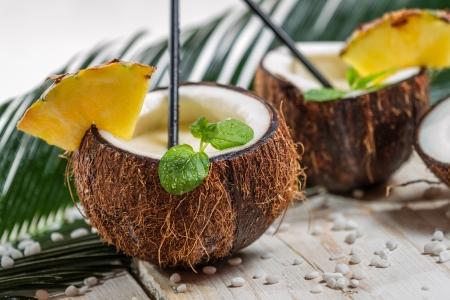 pina colada: Fresh pinacolada drink served in a coconut