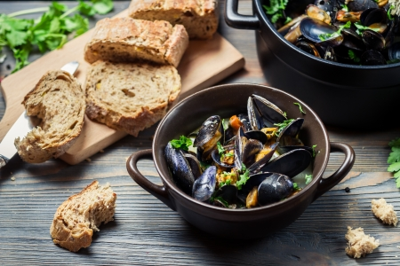 Closeup of fresh mussels prepared at home Stock Photo - 17965419