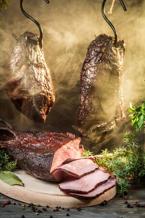 Smoked ham in a traditional rural way Stock Photo - 18014764