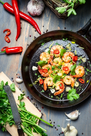 Preparation for cooking shrimps with herbs Stock Photo - 18125075