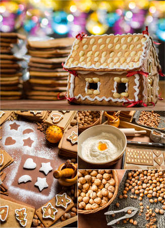 Homemade gingerbread cottage for Christmas photo