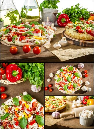 Homemade pizza made form fresh ingredients photo