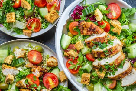 Three healthy salads with fresh vegetables Stock Photo - 18268792