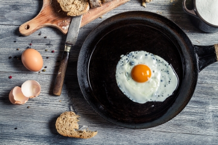 Closeup of fried egg on a cast iron pan Stock Photo - 18268776