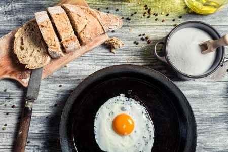 Fried egg on a cast iron frying pan Stock Photo - 18268770