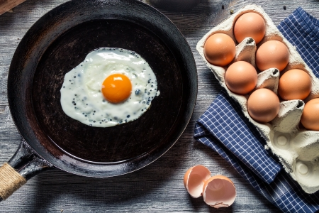 Preparing for frying eggs on a pan Stock Photo - 18268781