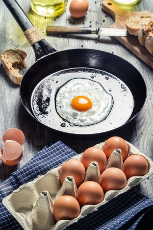 Eggs for breakfast fried on a pan Stock Photo - 18268739