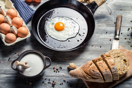 Fresh bread and fried egg for breakfast Stock Photo - 18268791