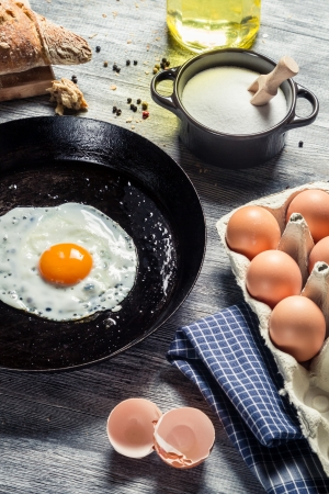 Closeup of fried egg for breakfast Stock Photo - 18268741