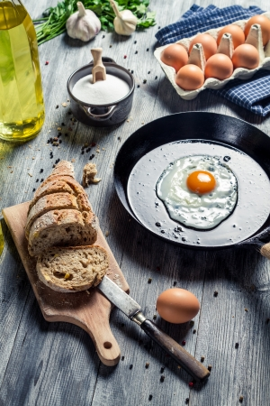 Ingredients for a morning egg on a pan photo