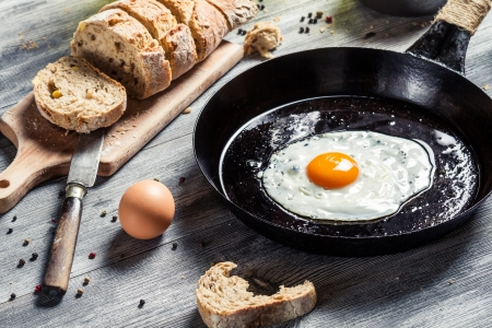 Closeup of fresh bread and fried egg for breakfast Stock Photo - 18268767