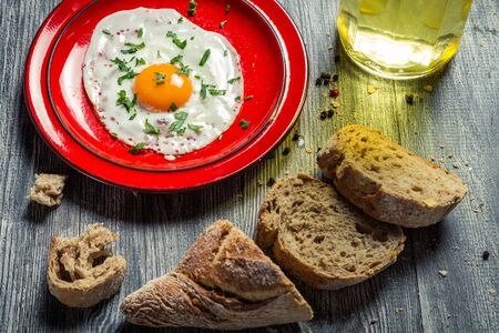 Eggs and fresh bread for breakfast Stock Photo - 18268777