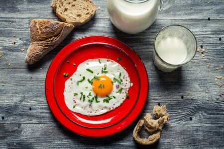 Country style breakfast with eggs and bread Stock Photo - 18268795