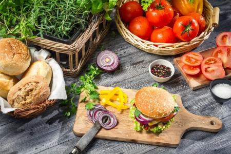 W�hrend Herstellung hausgemachter hamburger