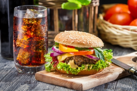sesame seed bun: Closeup of homemade hamburger