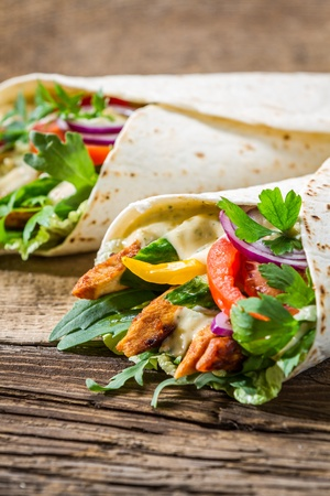 Kebab in a pancake with vegetables and chicken Stock Photo - 18889535