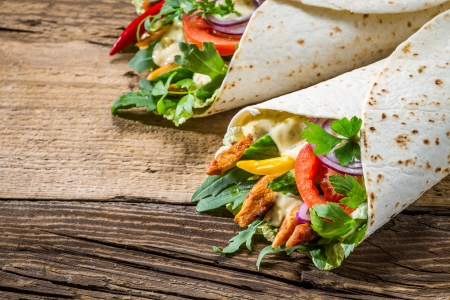 take out food: Tasty kebab with vegetables and chicken