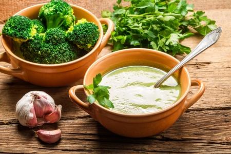 pureed: Soup made of fresh broccoli, garlic and parsley