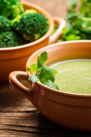 broccoli: Closeup of broccoli soup with parsley