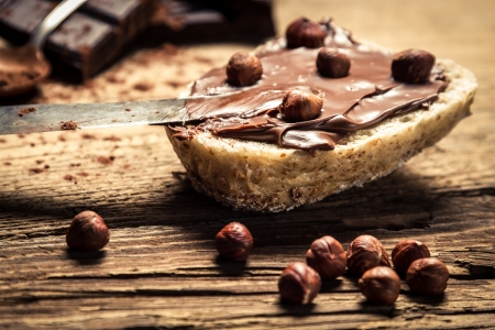 Sandwich with peanut butter and hazelnuts Stock Photo - 18889533