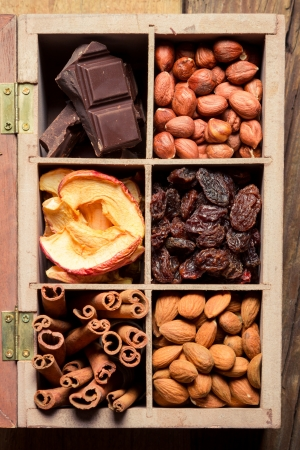 Nuts, cinnamon, raisins and dry fruits as an ingredient for dessert photo