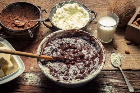 Ingredients for homemade chocolate with nuts photo