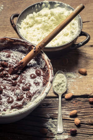 During making homemade chocolate with nuts Stock Photo - 18889557