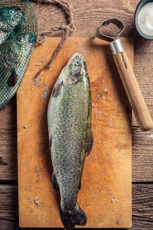 fish rearing: Closeup of preparing freshly caught fish