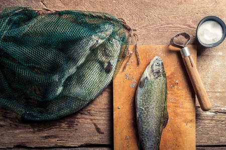 fish rearing: Preparing fish for dinner in the countryside