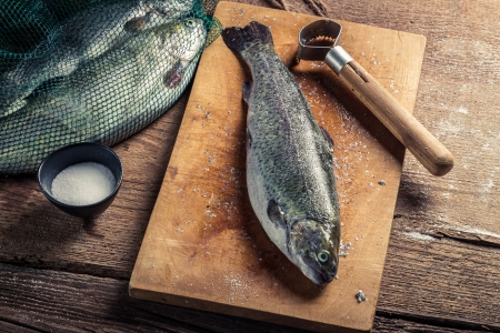 fish husbandry: Closeup of preparing fish for dinner in the countryside Stock Photo