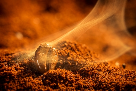 attar: Closeup of coffee seeds roasting Stock Photo