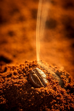 attar: Closeup of roasted coffee aroma emitting